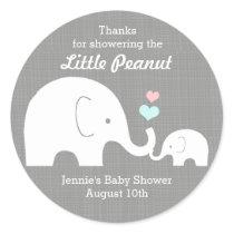 Elephant Favor Tag, Little Peanut Pink, Blue Heart Classic Round Sticker