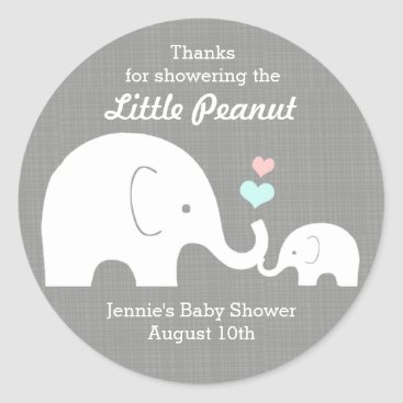 Valentines Themed Elephant Favor Tag, Little Peanut Pink, Blue Heart Classic Round Sticker