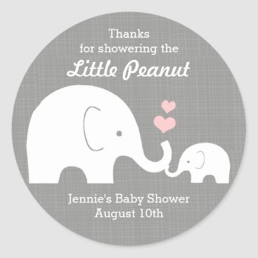 Valentines Themed Elephant Favor Tag, Little Peanut Pink Hearts Classic Round Sticker