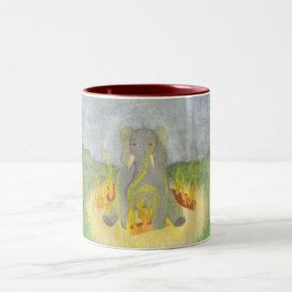 Elephant - Fire Two-Tone Coffee Mug