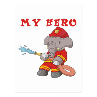 Elephant Firefighter My Hero Tshirts and Gifts Postcard
