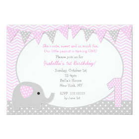 Elephant First Birthday Party Invitations 5