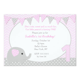 Elephant First Birthday Party Invitations