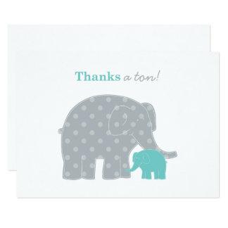 Elephant Flat Thank You Note Card | Aqua Blue Gray