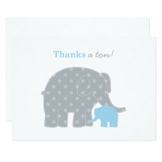Elephant Flat Thank You Note Card | Blue and Gray
