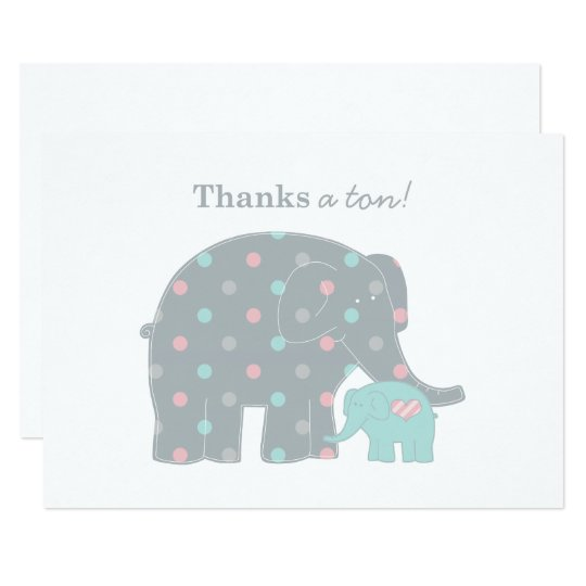Elephant Flat Thank You Note Card | Pink Blue Gray