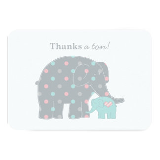 "Elephant Flat Thank You Note Card | Pink Blue Gray 3.5"" X 5"" Invitation Card"