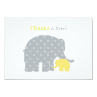 Elephant Flat Thank You Notes | Yellow and Gray 3.5x5 Paper Invitation Card