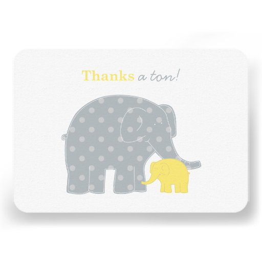 Elephant Flat Thank You Notes | Yellow and Gray Custom Announcements