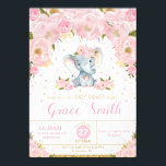"Elephant Floral Baby Shower Invitation Girl<br><div class=""desc"">Personalize this lovely Floral Elephant Baby Shower Invitation with your baby shower details easily and quickly,  simply press the customize it button to further re-arrange and format the style and placement of the text.   Matching welcome sign available. https://www.zazzle.com.au/elephant_baby_shower_welcome_sign_poster-228394992175914224  (c) The Happy Cat Studio</div>"