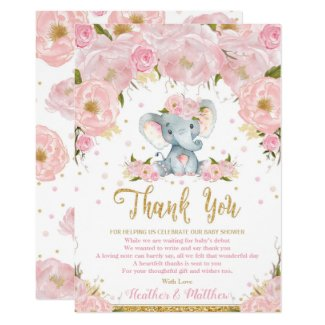 Elephant Floral Baby Shower Thank You Card Girl