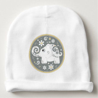 Elephant Floral Daisy Yellow Grey White Baby Beanie
