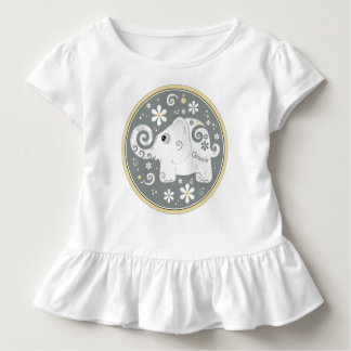 Elephant Floral Daisy Yellow Grey White Toddler T-shirt