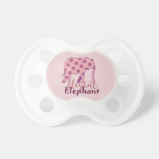 Elephant Floral Funny Elegant Pink Chic Girly Cute Pacifier