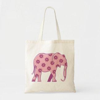 Elephant Floral Pink Silhouette Elegant Stylish Tote Bag