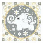 "Elephant Floral Sweet 16 Birthday Invitation 5.25"" Square Invitation Card"