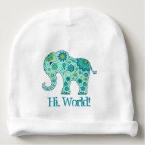"Elephant Flowers Teal ""Hi, World!"" Baby Beanie"