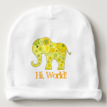 "Elephant Flowers Yellow ""Hi, World!"" Baby Beanie"