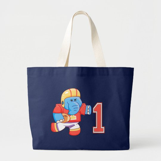 Elephant Football 1st Birthday Large Tote Bag