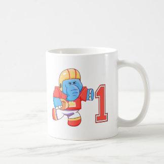 Elephant Football 1st Birthday Mugs