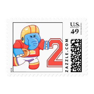 Elephant Football 2nd Birthday Postage Stamps