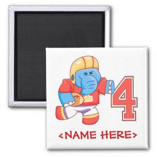 Elephant Football 4th Birthday 2 Inch Square Magnet