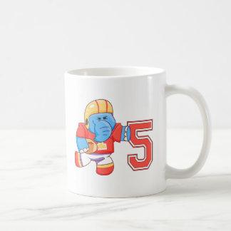 Elephant Football 5th Birthday Mugs