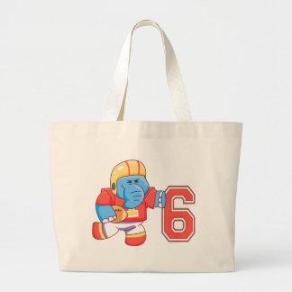 Elephant Football 6th Birthday Large Tote Bag