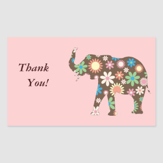 Elephant Funky floral flowers cute fun thank you Rectangular Sticker