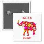 Elephant Funky floral flowery flowers design pin