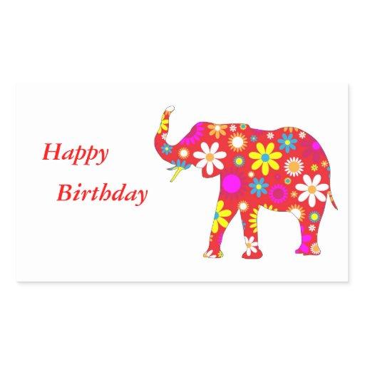 Elephant Funky Floral Fun Happy Birthday Stickers