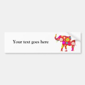 Elephant funky floral retro  custom bumper sticker