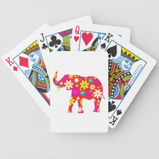 Elephant funky floral retro flowers colorful fun bicycle playing cards