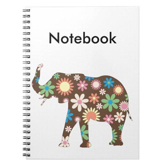 Elephant funky floral retro flowers cute custom notebook