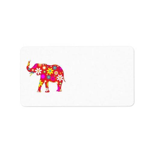 Elephant Funky retro floral address labels
