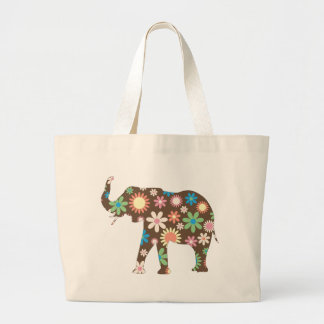 Elephant Funky retro floral colorful flowers, gift Large Tote Bag