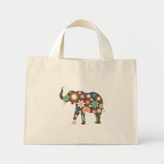 Elephant Funky retro floral colorful flowers, gift Mini Tote Bag