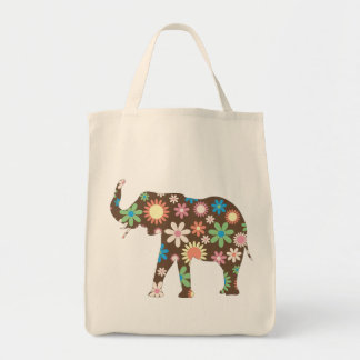 Elephant Funky retro floral colorful flowers, gift Tote Bag