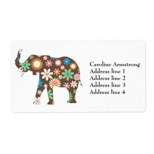 Elephant funky retro floral custom address labels