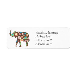 Elephant funky retro floral custom address labels
