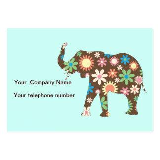 Elephant funky retro floral custom business card