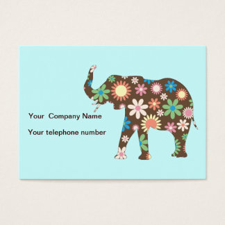 Elephant funky retro floral custom business card