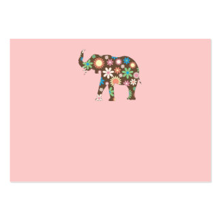 Elephant Funky retro floral flowers business card