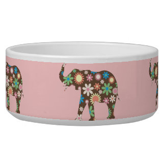Elephant funky retro floral flowers colorful cute bowl