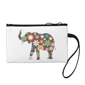 Elephant funky retro floral flowers colorful cute coin purse