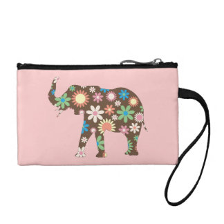 Elephant funky retro floral flowers colorful cute coin wallet