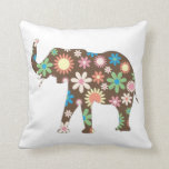 Elephant funky retro floral flowers colorful cute throw pillow