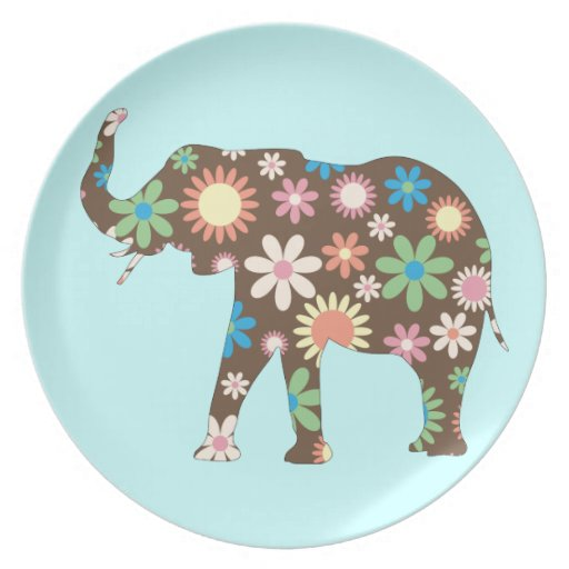Elephant funky retro floral flowers colorful cute party plates