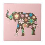 Elephant funky retro floral flowers colorful cute ceramic tiles