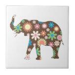 Elephant funky retro floral flowers colorful cute tile